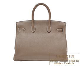 Hermes Birkin bag 35 Etoup grey Clemence leather Silver hardware