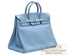 Hermes Birkin bag 40 Blue jean Clemence leather Silver hardware
