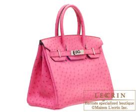b18c436d748 Hermes Birkin bag 30 Fuschia pink Ostrich leather Silver hardware ...
