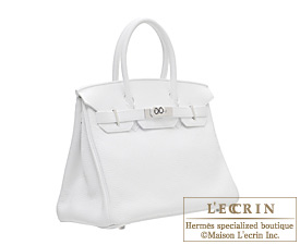 Hermes Birkin bag 30 White Clemence leather Silver hardware
