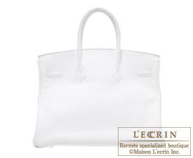 Hermes Birkin bag 35 White Clemence leather Gold hardware