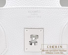 Hermes Birkin bag 35 White Clemence leather Silver hardware