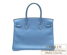 Hermes Birkin bag 30 Blue jean Swift leather Silver hardware