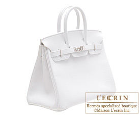 Hermes Birkin bag 25 White Epsom leather Silver hardware