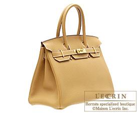 Hermes Birkin bag 30 Natural Fjord leather Gold hardware