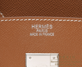 Hermes Birkin bag 35 Gold Epsom leather Silver hardware