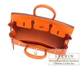 Hermes Birkin bag 25 Orange Togo leather Gold hardware