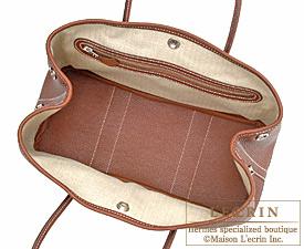 Hermes Garden Party bag TPM Marron Negonda leather Silver hardware