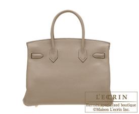 Hermes Birkin bag 30 Gris tourterelle Clemence leather Gold hardware