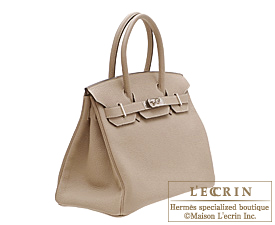 Hermes Birkin bag 35 Gris tourterelle/Mouse grey Clemence leather Silver hardware