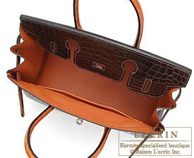 Hermes Birkin bag 30 Cocaon/Orange Niloticus crocodile skin Silver hardware
