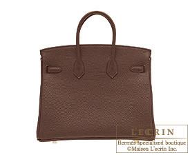 Hermes Birkin bag 25 Chocolat Togo leather Gold hardware