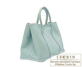 Hermes Garden Party bag TPM Ciel Negonda leather Silver hardware