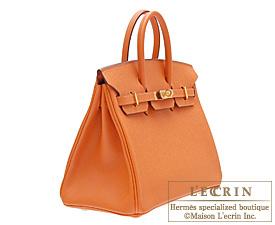 Hermes Birkin bag 25 Orange Epsom leather Gold hardware
