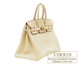 Hermes Birkin bag 35 Parchemin/Parchment beige Togo leather Gold hardware