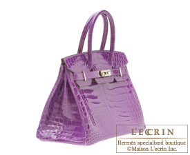 28076a6eebd Hermes Birkin bag 30 Violet Niloticus crocodile skin Silver hardware ...