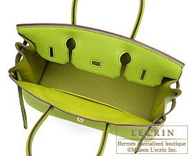ca6236b5964 Hermes Birkin bag 30 Anis green Togo leather Silver hardware ...