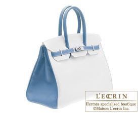 Hermes Birkin bag 35 White/Blue jean Epsom leather Silver  hardware