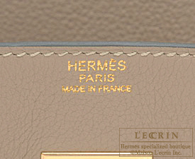 Hermes Birkin bag 35 Gris tourterelle/Mouse grey Clemence leather Gold hardware