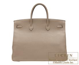 Hermes Birkin bag 40 Gris tourterelle/Mouse grey Togo leather Silver hardware