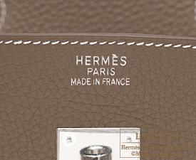 Hermes Birkin bag 40 Etoupe/Taupe grey Clemence leather Silver hardware