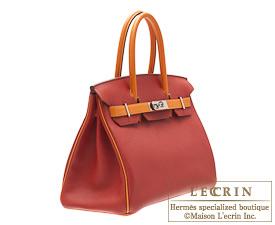 Hermes Birkin bag 30 Rouge garance/Orange Togo leather Silver hardware