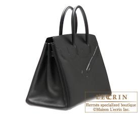 ba751eb777c ... Hermes Shadow Birkin bag 35 Black Evercalf leather Mat Silver hardware