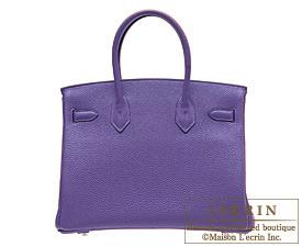 Hermes Birkin bag 30 Iris Clemence leather Silver hardware