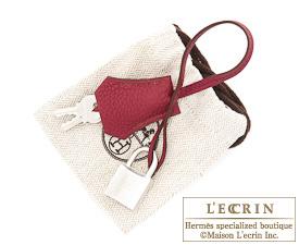 Hermes Birkin bag 25 Ruby Togo leather Silver hardware