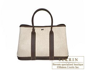 Hermes Garden Party bag TPM Cocaon Toile H cotton canvas with Buffalo leather Silver hardware
