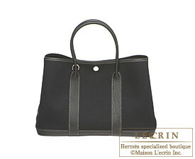 Hermes Garden Party bag TPM Black Toile officier cotton canvas with Fjord leather Silver hardware