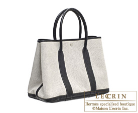 Hermes Garden Party bag PM Grey Toile H cotton canvas with Buffalo leather Silver hardware