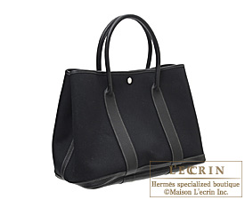 Hermes Garden Party bag PM Black Toile officier cotton canvas with Buffalo leather Silver hardware