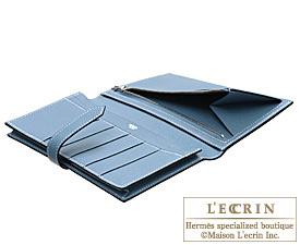 Hermes Bearn Soufflet Blue jean Epsom leather Silver hardware