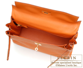 Hermes Kelly bag 32 Orange Togo leather Gold hardware