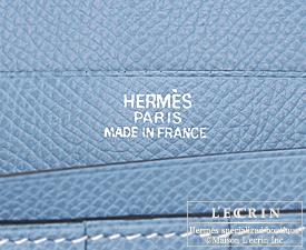 Hermes Bearn bi-fold wallet Blue jean Epsom leather Silver hardware