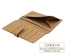 Hermes Bearn bi-fold wallet Natural Epsom leather Silver hardware