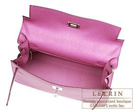 Hermes Kelly bag 32 Fuschia pink Chevre Coromandel Silver hardware