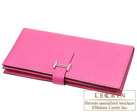 Hermes Bearn Soufflet Rose shocking/Hot pink Chevre myzore goatskin Silver hardware