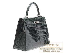 708b350108f ... low price hermes kelly bag 25 vert fonce niloticus crocodile skin  silver hardware 3ad26 956c5