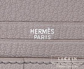 Hermes Bearn Soufflet Grioret/Grey Chevre myzore goatskin Silver hardware