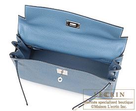 Hermes Kelly bag 32 Retourne Blue jean Clemence leather Silver hardware