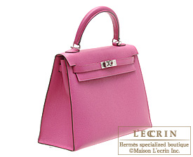 Hermes Kelly bag 25 Rose shocking Chevre myzore goatskin Silver hardware