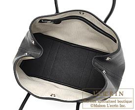Hermes Garden Party bag TPM Black Negonda leather Silver hardware