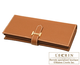 Hermes Bearn Soufflet Gold Epsom leather Gold hardware