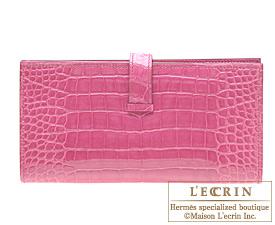 Hermes Bearn Soufflet Fuschia pink Alligator crocodile skin Silver hardware