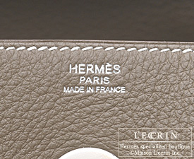 Hermes Lindy bag 30 Etoupe grey Clemence leather Silver hardware
