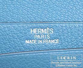 Hermes Bearn Soufflet Turquoise blue Chevre myzore goatskin Silver hardware