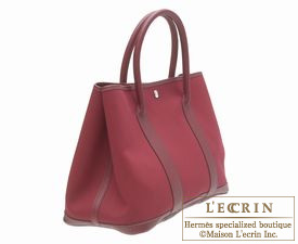 Hermes Garden Party bag PM Rouge imperial Toile officier cotton canvas with Buffalo leather Silver hardware