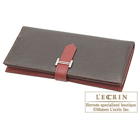 Hermes Bearn Soufflet Chocolat/Rouge garance Epsom leather Silver hardware
